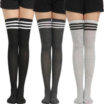 Nuevo de moda a rayas de las mujeres muslo alto medias de las mujeres sobre la rodilla calcetines caliente calcetines Sexy de compresión media de algodón Calcetines