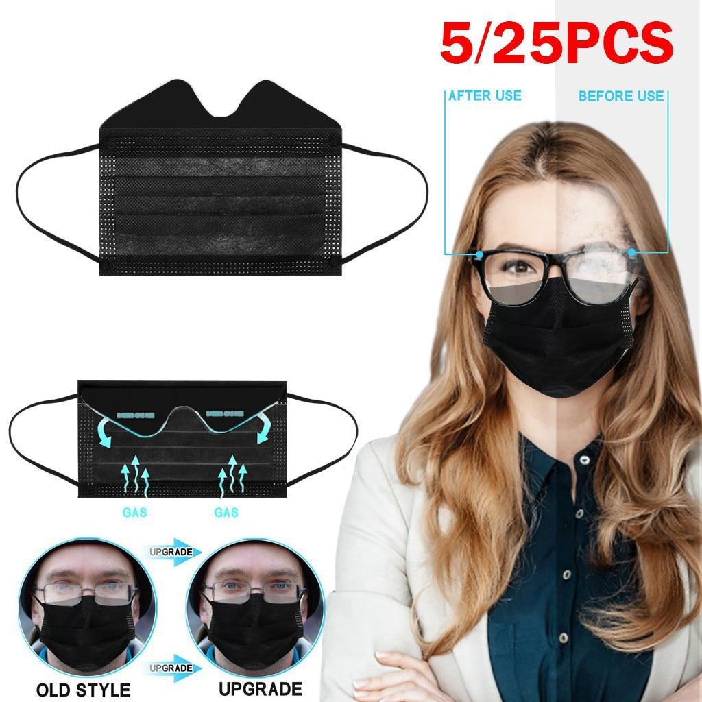 Máscara protetora descartável de 3 dobras para pessoas que usam óculos à prova de poeira confortável máscaras descartáveis da anti-névoa de 5/25 pces