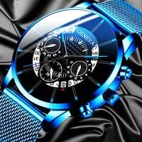 Luksusowa moda męska kalendarz biznesowy zegarki niebieska siatka ze stali nierdzewnej pasek analogowy zegarek kwarcowy relogio masculino