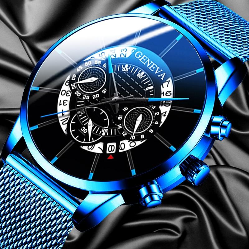 Luxus männer Mode Business Kalender Uhren Blau Edelstahl Mesh Gürtel Analog Quarzuhr relogio masculino