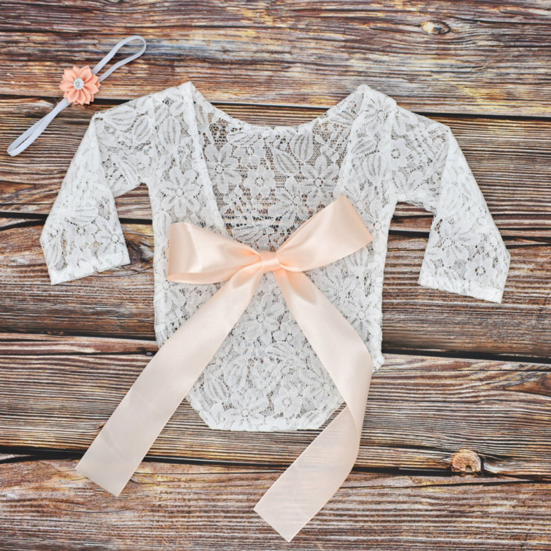 2019 Newborns Photography Lace Photo Shoot Clothing Of Bow Lace Top Hair Band Set Two-Piece Set Photographic Prop