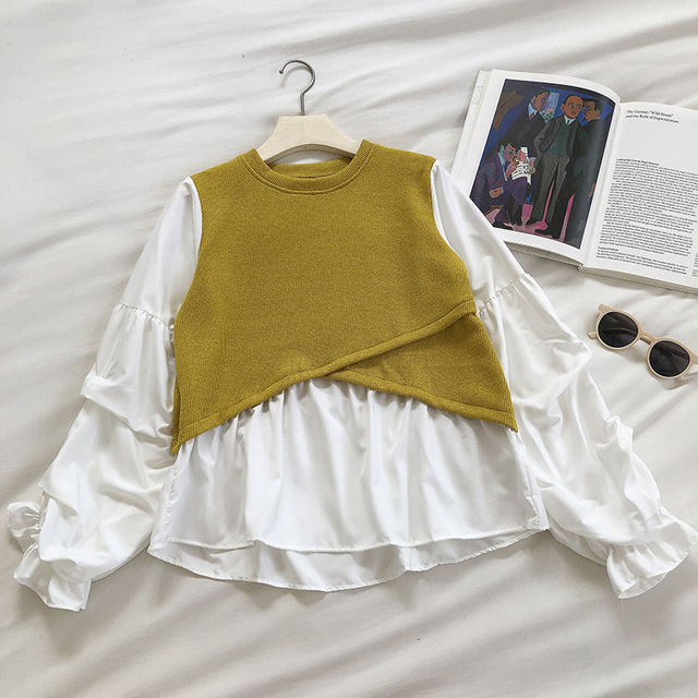 Kimutomo 2021 Spring Fashion Patchwork Blouse Women O-neck Puff Sleeve Solid Shirt Ladies Fake Two Piece Tops Outwear New 3