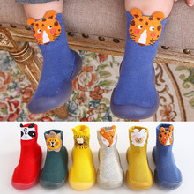 Socks Shoes Baby-Boy with Rubber-Soles for Toddlers Animals Fox Slippers Warm Walker