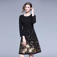 Spring Elegant Sequin Embroided Black Dress Vestidos Inviern