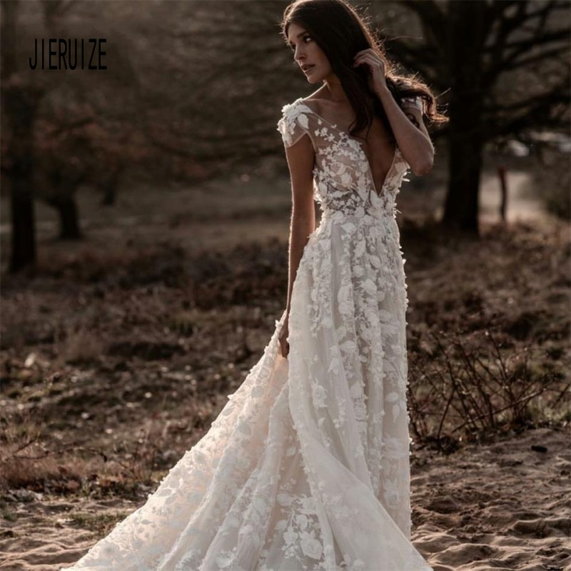 JIERUIZE Sheer Boho Wedding Dresses 3D Floral Applique Lace V Neck Sleeveless Backless Long Train Illusion Bodice Bridal Gowns