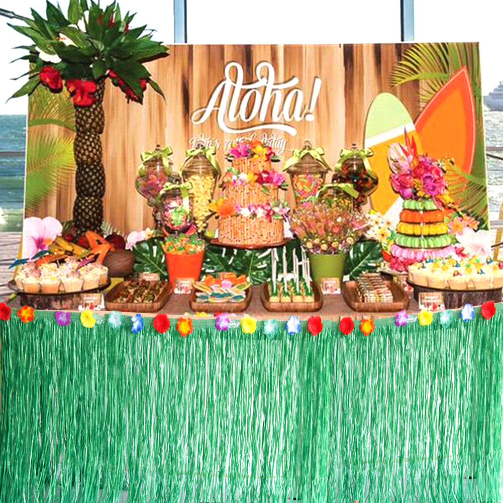 Hawaiian Tropical Party Decorations Table Skirt Anniversaire Wedding Happy  Birthday Party Decor Bride To Be Summer Luau Supplies