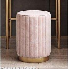 Simple de hierro forjado nordica tela Color de macarron taburete de tocador cambiar de zapatos pequeno sofa moda sala de estar
