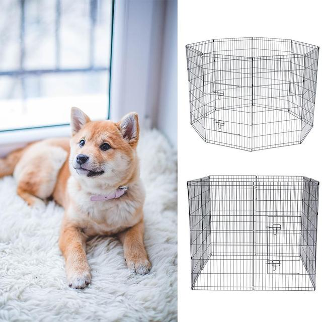 8 Panel Foldable Pet Dogs Cats Fence Small Animal Cage Indoor Portable Metal Wire Yard Fence Rabbits Kennel Crate Fence Tent 3