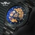 Роскошные автоматические механические часы WINNER  Классические наручные часы с полностью стальным ремешком и 3d-дизайном