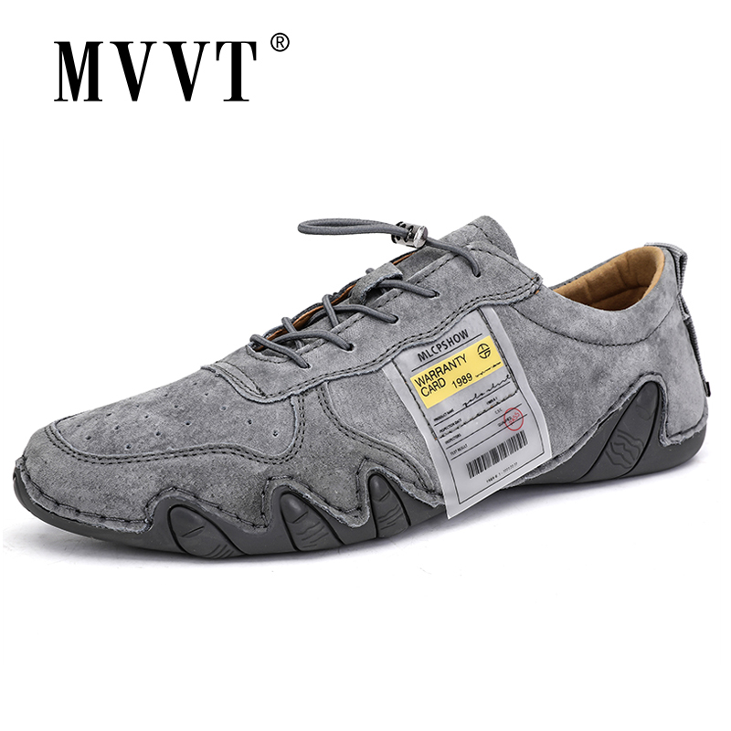 Suede   Genuine   Leather   Shoes Men Loafers Classic Octopus Casual   Leather   Men Shoes Quality Men Flats Lace-Up Driving shoes
