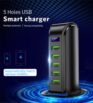 TKEY Universal Multi 5 Port USB Charger HUB USB Quick Charger Charging station Dock Travel Adapter Wall Socket US EU UK Plug