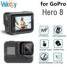 VSKEY 100PCS מזג זכוכית עבור GoPro גיבור 8 מצלמה LCD מסך מגן + עדשת כובע מגן סרט עבור גיבור 8 שחור