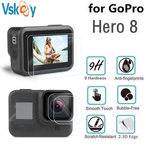 Image 1 - VSKEY cristal templado para cámara GoPro Hero 8, Protector de pantalla LCD + tapa de lente, película protectora para Hero 8, color negro, 100 Uds.