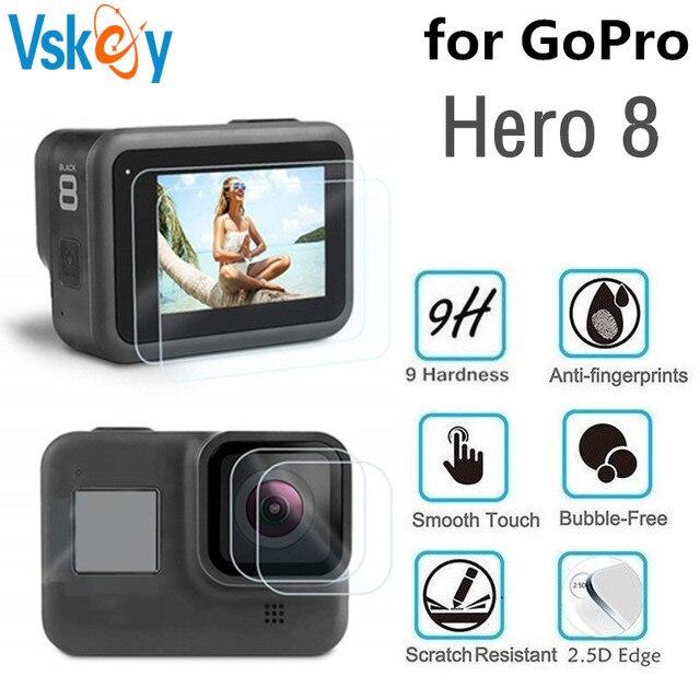 VSKEY cristal templado para cámara GoPro Hero 8, Protector de pantalla LCD + tapa de lente, película protectora para Hero 8, color negro, 100 Uds.