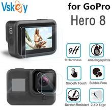 Vskey 100 Chiếc Kính Cường Lực Dành Cho Gopro Hero 8 Camera Bảo Vệ Màn Hình LCD + Ống Kính Bảo Vệ Cho Anh Hùng 8 Màu Đen