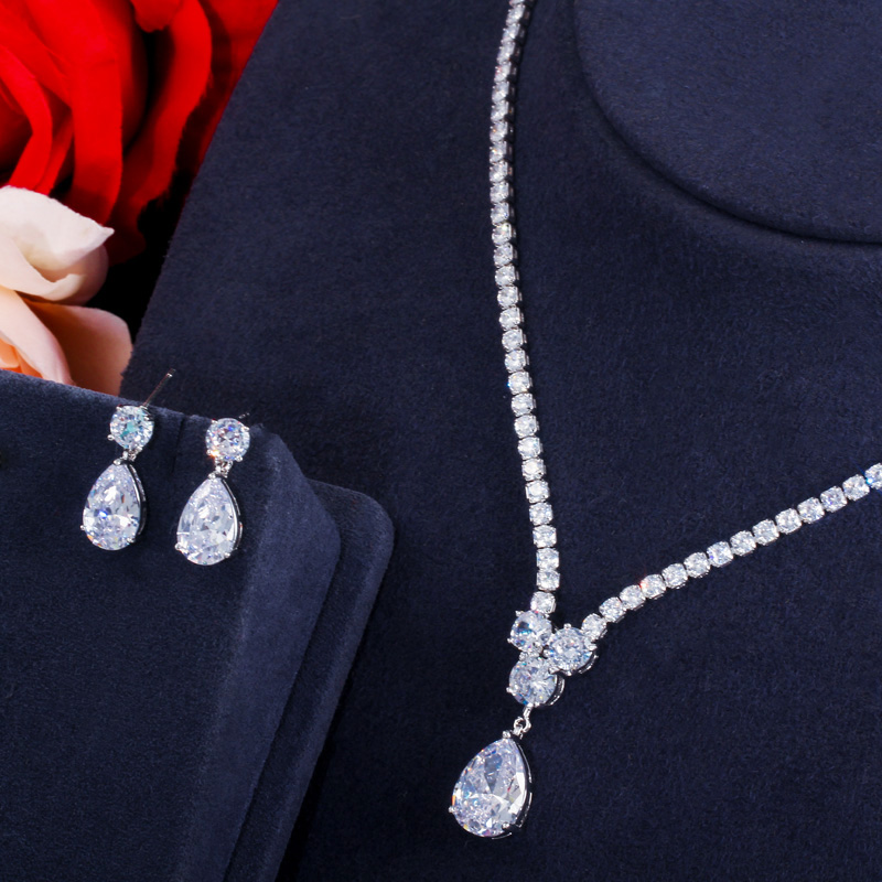 CWWZircons Fashion Cubic Zirconia Water Drop Pendant Necklace and Earrings Bridal Wedding Jewelry Sets for Brides Party T397 3