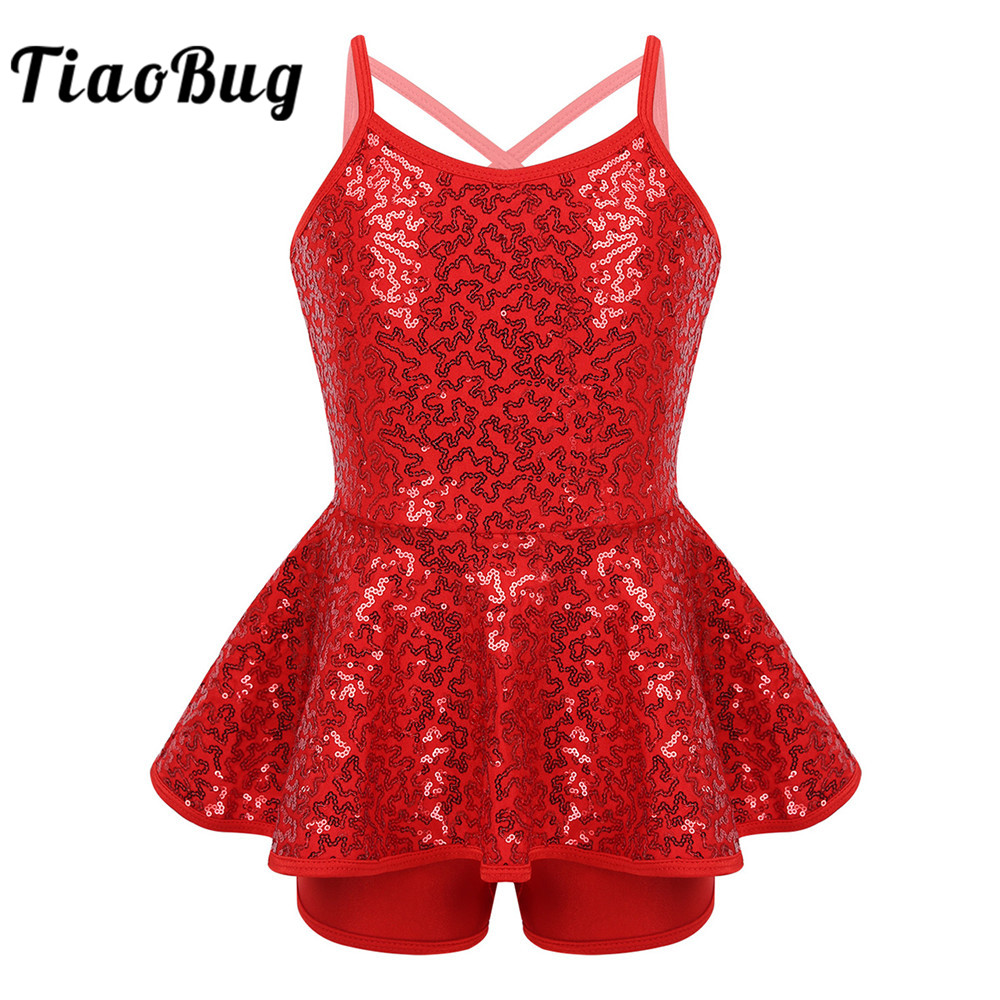 <font><b>TiaoBug</b></font> Kids Girls Sleeveless Shiny Sequins Gymnastics Leotard Unitards Ballet Dress Stage Performance Lyrical Dance Costumes image