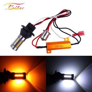 2 sztuk T20 W21W 1156 Ba15s P21W PY21W Bau15s światło kierunkowskazu LED DRL Canbus nie błąd podwójny kolor światła samochodowe LED biały bursztyn