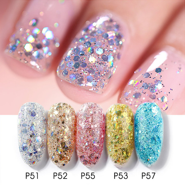 Glitter Bright Painting Gel Multi Shape Sequin Semi Permanent Soak Off UV LED Nail Gel Varnish Luxury Starry Color Gel Lacquer 2