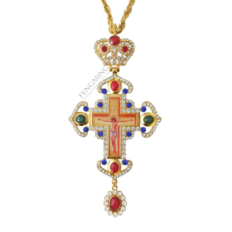 Pectoral Cross Orthodox Jesus Crucifix Pendants Plated Gold Rhinestones Chain Religious