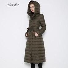 Fitaylor yeni kış kadın Ultra hafif ördek aşağı uzun ceket tek göğüslü artı boyutu sıcak kar dış giyim ince kapşonlu Parkas