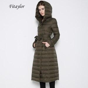 Image 1 - Fitaylor 新冬の女性の超軽量アヒルダウンロングコートシングルブレストプラスサイズ暖かい雪生き抜くスリムフードパーカー
