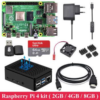 2GB 4GB 8GB RAM Raspberry Pi 4 con carcasa ABS fuente de alimentación de aluminio disipador de calor Cable Micro HDMI para Raspberry Pi 4 Modelo B Pi 4B