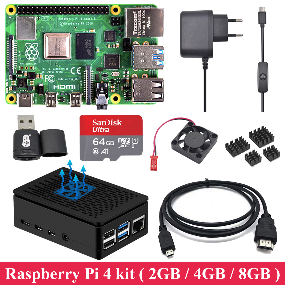 2GB 4GB 8GB RAM Raspberry Pi 4 with ABS Case Power Supply Aluminum Heat Sink Micro HDMI Cable for Raspberry Pi 4 Model B Pi 4B