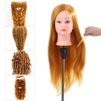 """24"""" 50% Human Hair Training Mannequins For Hairdressing W/ Clamp Hair Practice Hairstyles Head Model Mannequin Doll Head Train"""