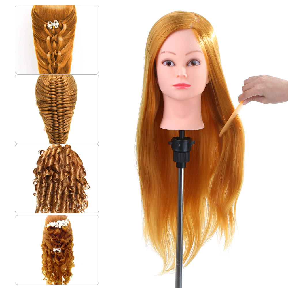 "24"" 50% Human Hair Training Mannequins For Hairdressing W/ Clamp Hair Practice Hairstyles Head Model Mannequin Doll Head Train"