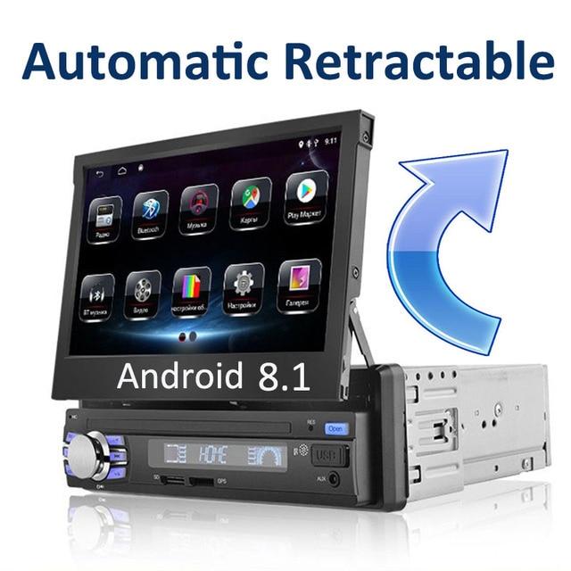 """อัตโนมัติวิทยุติดรถยนต์1 Din Android 7 """"GPS นำทาง Bluetooth กล้อง AM RDS 1080P USB หน้าจออัตโนมัติเครื่องเล่นมัลติมีเดีย"""