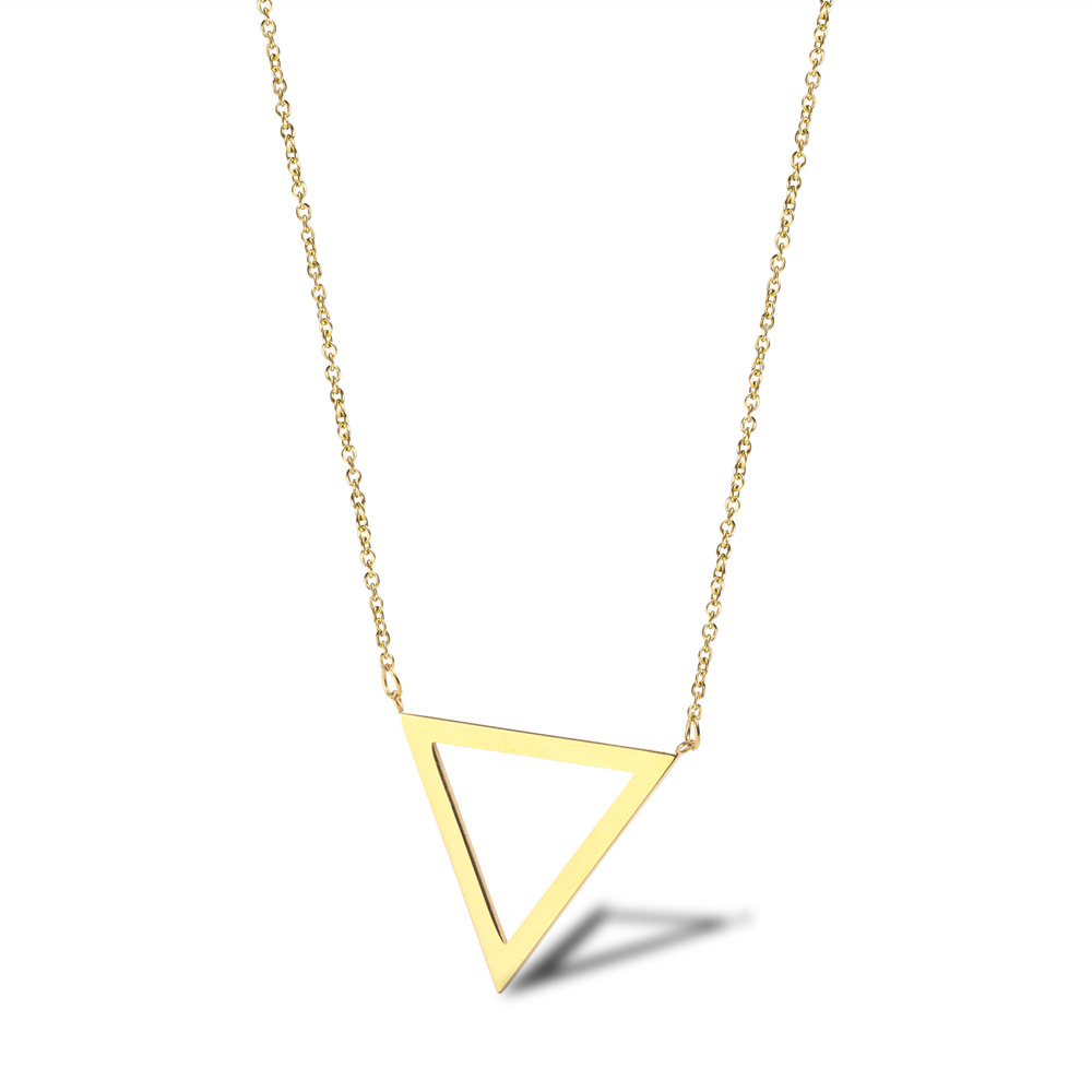 Simple Hollow Out Triangular Necklace Titanium Steel Sweater Chain INS Minimalist Style 18K Golden Triangle Symbol Women's Choke