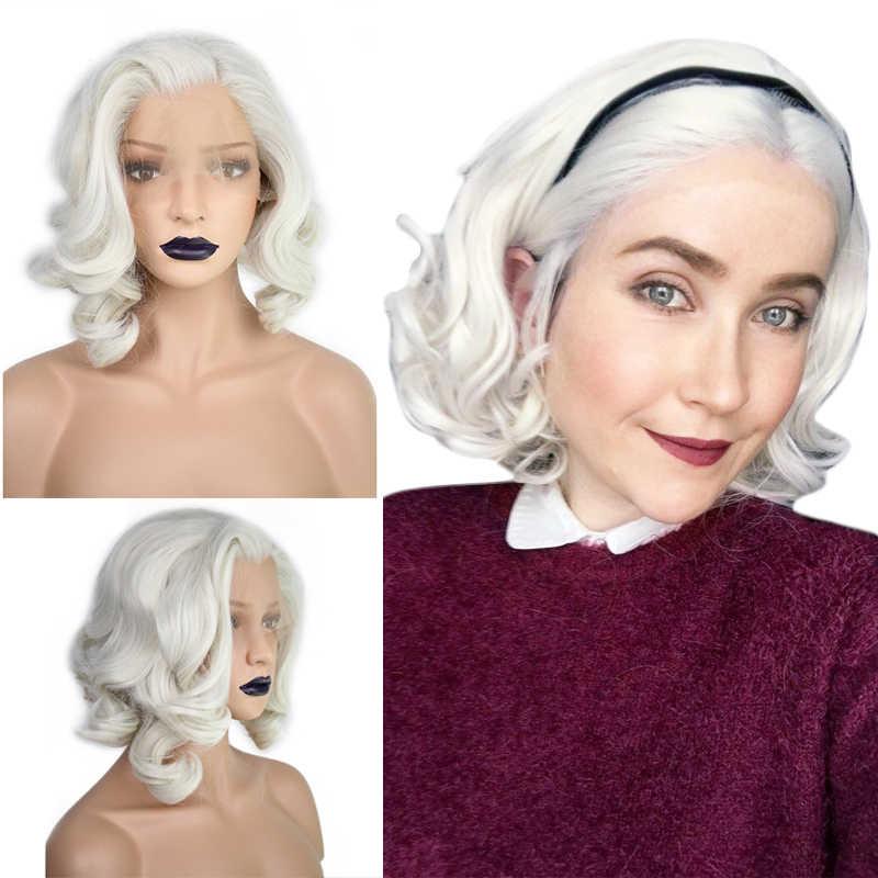 Anogol Kurzen Körper Welle Bob Weiß Blonde Kostenloser Teil Welle Hohe Temperatur Faser Synthetische Haar Spitze Front Perücken Für Drag königin