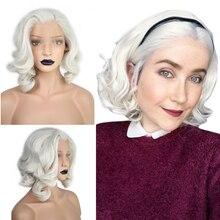 Anogol krótki korpus fala Bob biały blond wolna część fala wysokiej temperatury włókna syntetyczne włosy koronki przodu peruki dla Drag Queen