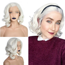 Короткие Волнистые парики Anogol, белые, светлые, свободные, волнистые, высокотемпературное волокно, синтетические волосы, передние парики для Drag Queen