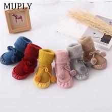 Kış bebek çorap kız erkek çorap Chaussette bebek pamuk bebek bacak ısıtıcıları çocuk kat çorap kaymaz bebek adım çorap