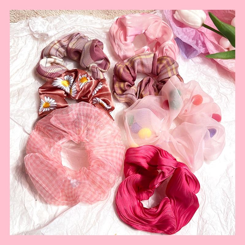 Fashion Lace Daisy Scrunchies Rainbow Gum Hair Tie Women Girls Printed Floral Elastic Hair Bands Ponytail Hold Hair Accessories
