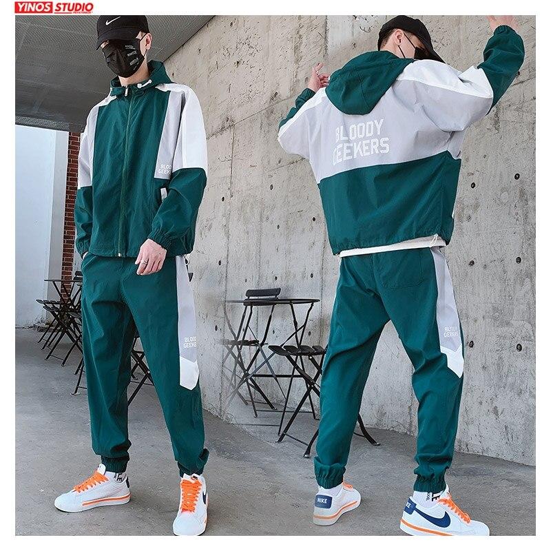 Dropshipping Patchwork Hip Hop Casual Men's Sets 2020 Korean 2 Piece Sets Clothes Men Streetwear Fitness Male Tracksuit Spring
