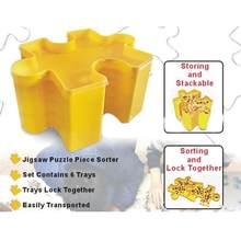 6 pçs blocos de construção recipientes caixa de armazenamento brinquedo organizador plástico empilhável triagem bandejas para quebra-cabeça caixas de acabamento
