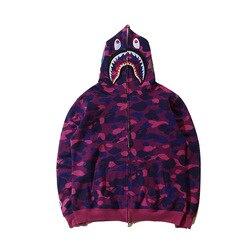 Europa En Amerika Herfst En Winter Shark Head Joint-Zip-Up Jacket Tiener Hoodie Camouflage Hoodie