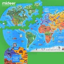 Mideer mapa do mundo quebra-cabeça crianças inteligência desenvolvimento brinquedo do bebê caixa de presente portátil 100 peças brinquedos educativos 2-6y
