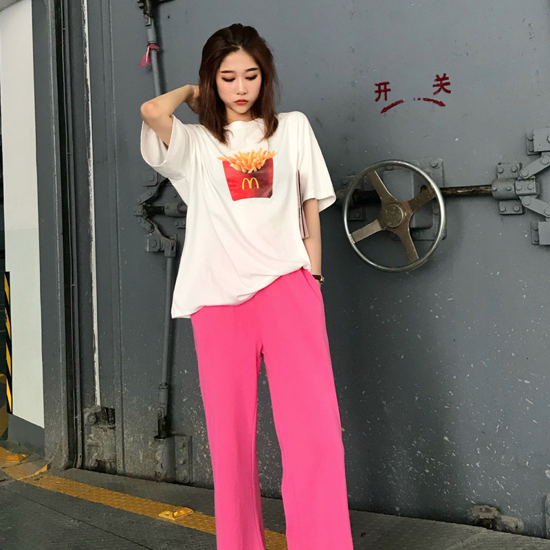 2020 Summer Wear New Style Korean-style French Fries Printed T-shirt + Solid Color High-waisted Loose Pants Two-Piece Set