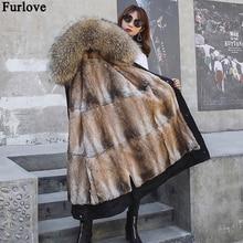 Пальто с натуральным мехом, зимняя куртка, Женская длинная парка, воротник из натурального Лисьего меха, капюшон, подкладка из кроличьего меха, Толстая теплая уличная одежда