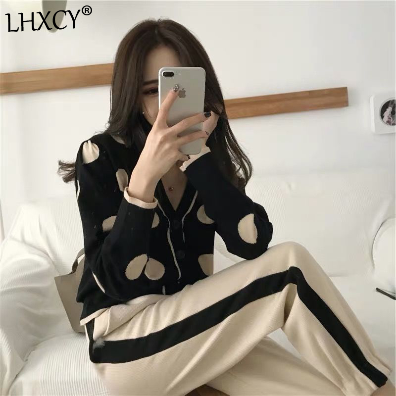 Two Piece Set Women Outfits Comfortable Dot Printed V Neck Black Short Knit Cardigan With Pant Fashion Slim Two-piece Suit Women