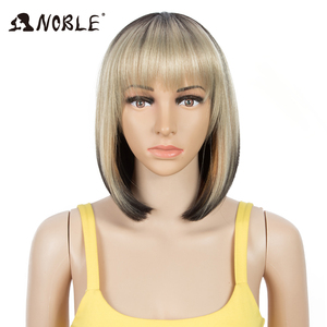 Noble Cosplay Synthetic Lace Front Wig Short Bob Straight 12