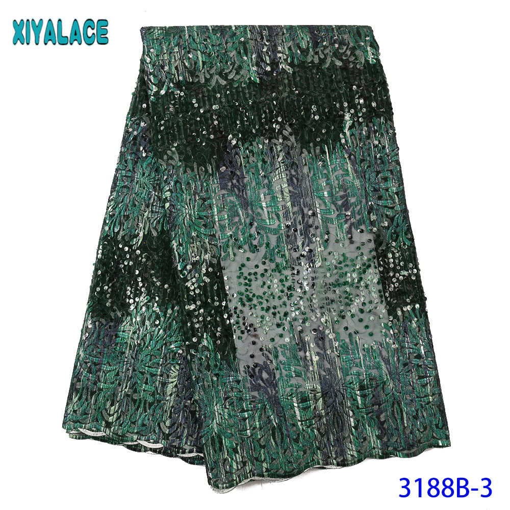 Latest Nigerian Lace Fabric 2019 High Quality Tulle Lace African Fabric Lace New Embroidered Laces With Sequins KS3188B