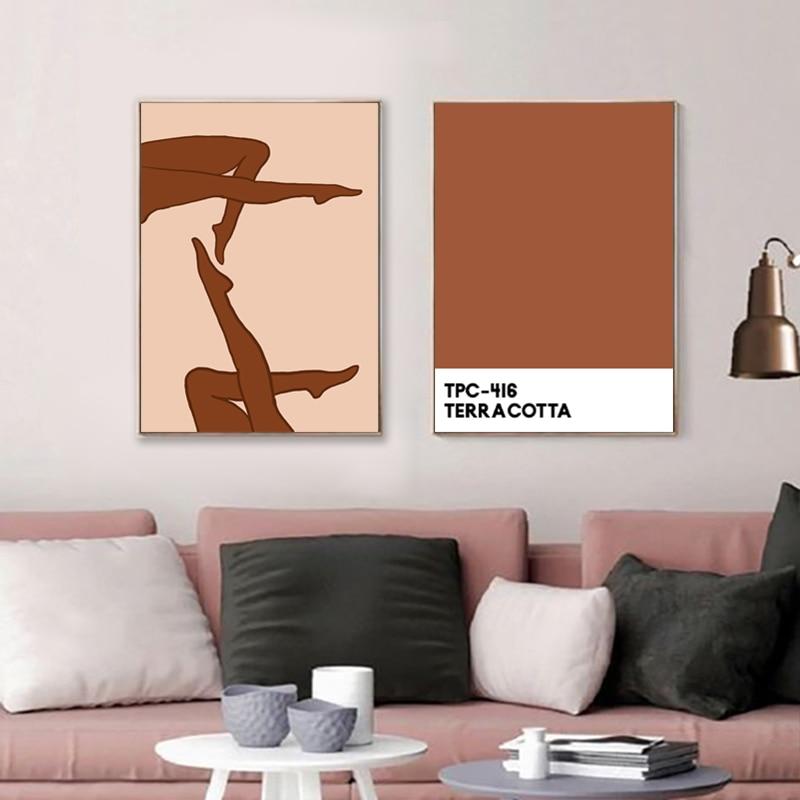 Abstract Been Lijn Tekening Schets Art Print Gebrande Oranje Minimalistische Muur Canvas Schilderij Moderne Poster Gallery Muur Decor