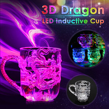 LED Flash Magic Color Changing Dragon Cup Water Activated Light-Up Beer Coffee Milk Tea Wine Whisky Bar Mug travel Creative Gift стоимость