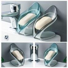 Forma de folha suporte de sabão criativo banheiro caixa de sabão cozinha prato de armazenamento antiderrapante dreno sabão armazenamento caso recipiente