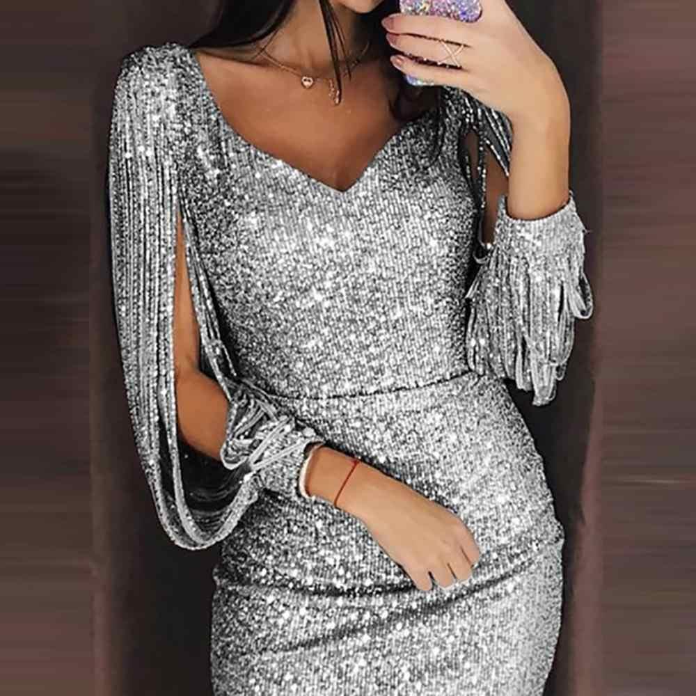 Abiti da donna Vestito Da partito Vestito aderente Sexy vestito di paillette di notte vestito Lucido Nappa glitter abiti abiti per la sera veste femme